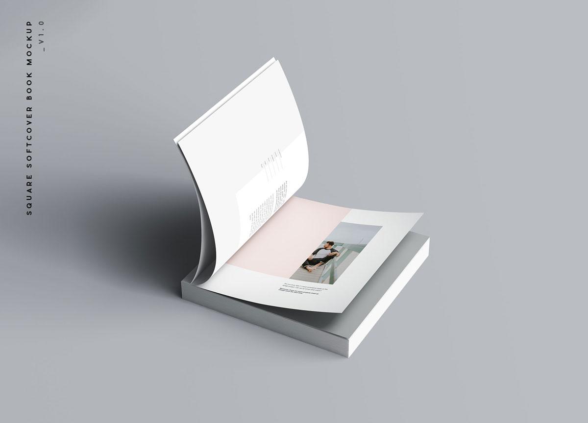 方形精装书画册封面设计预览效果样机模板 Square Softcover Book Mocku插图