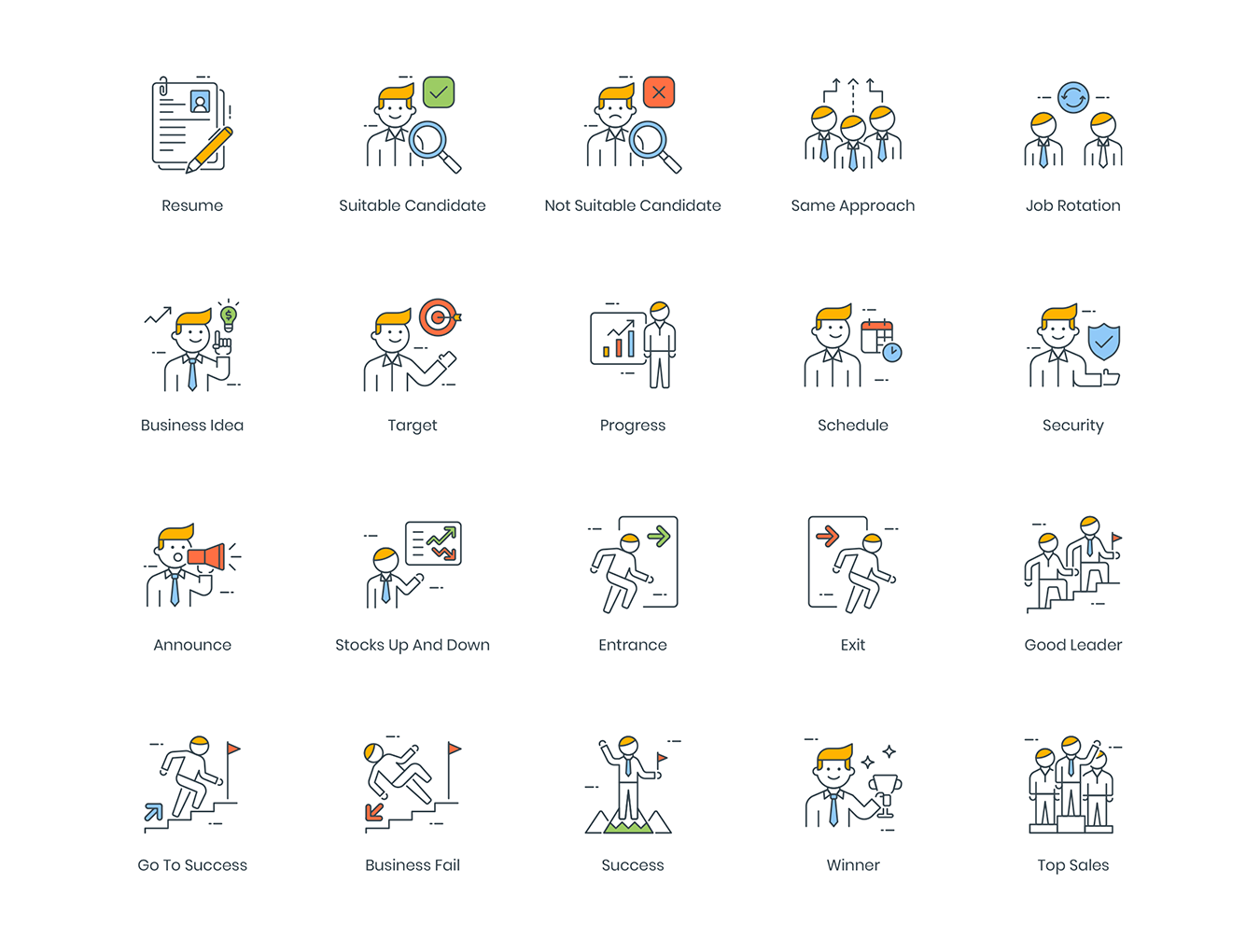 95款高质量商务人士创意矢量图标 95 Business People Icons插图(1)