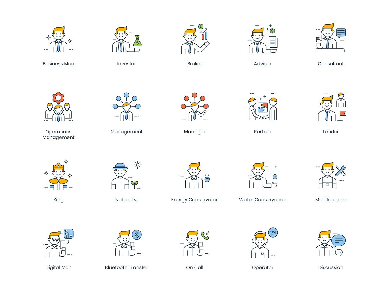 95款高质量商务人士创意矢量图标 95 Business People Icons插图(3)