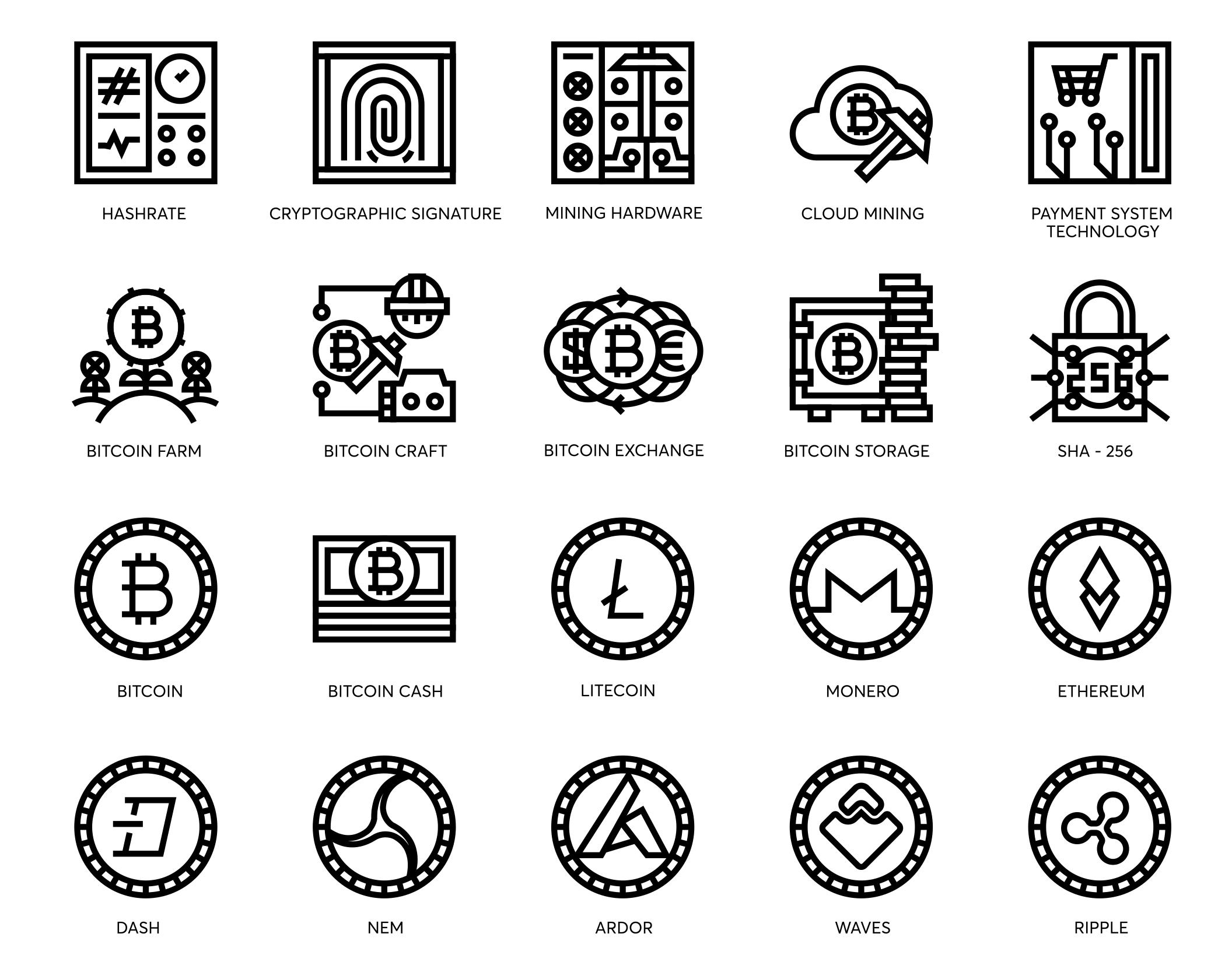 74个比特币和加密货币线矢量图标 74 Bitcoin & Cryptocurrency Line Icons插图(7)