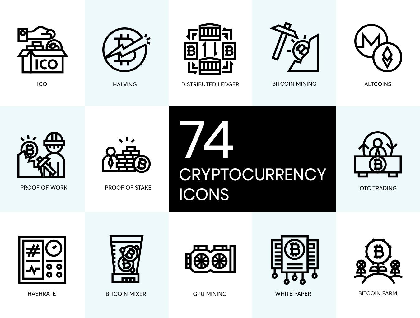 74个比特币和加密货币线矢量图标 74 Bitcoin & Cryptocurrency Line Icons插图