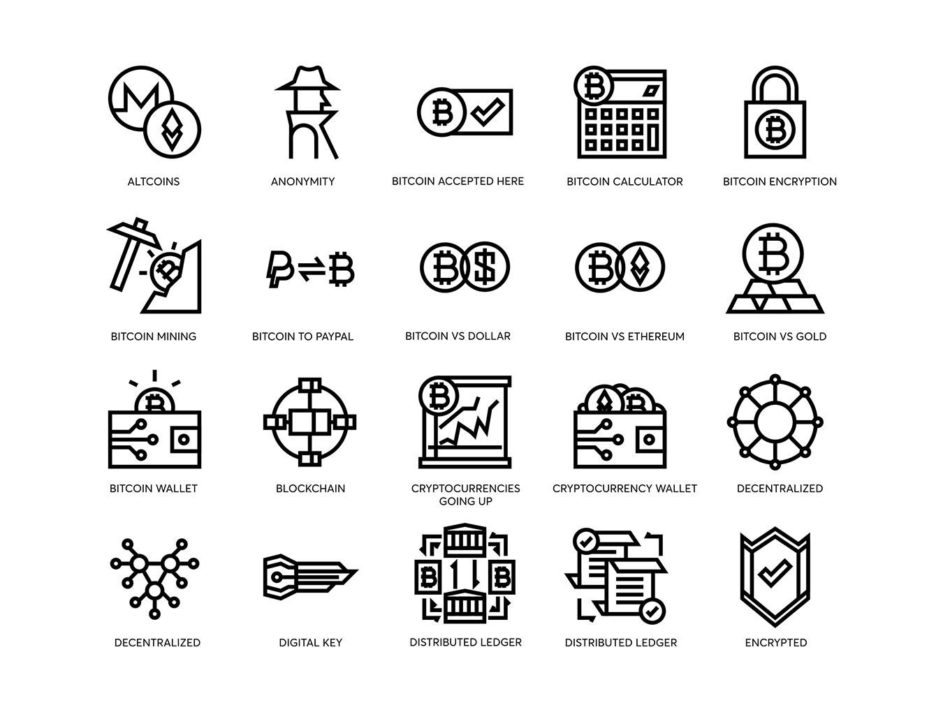 74个比特币和加密货币线矢量图标 74 Bitcoin & Cryptocurrency Line Icons插图(9)