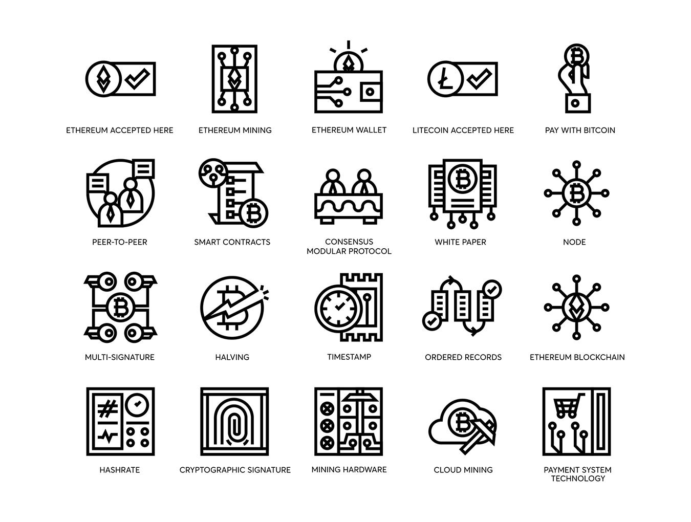74个比特币和加密货币线矢量图标 74 Bitcoin & Cryptocurrency Line Icons插图(1)