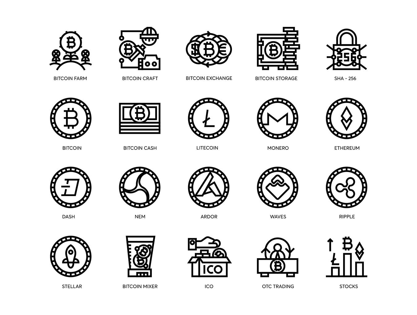 74个比特币和加密货币线矢量图标 74 Bitcoin & Cryptocurrency Line Icons插图(2)