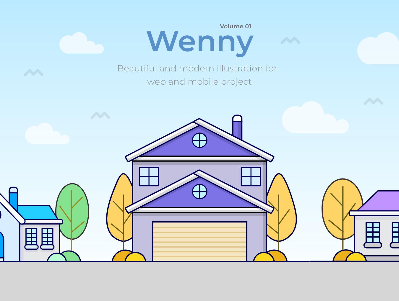 5款温馨的房屋建筑矢量插图 Wenny House Illustrations插图