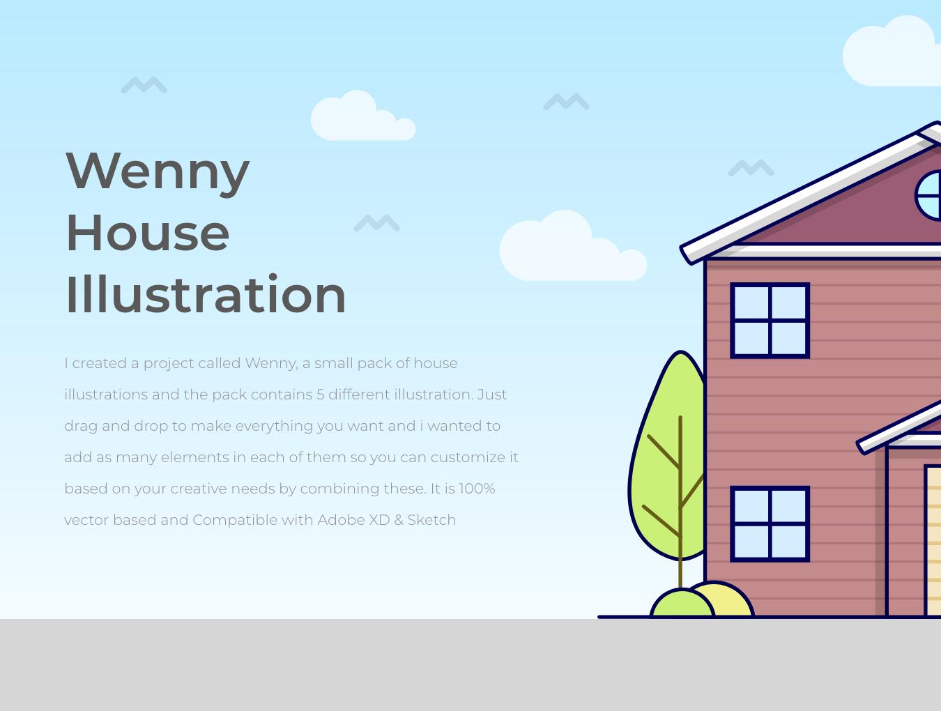 5款温馨的房屋建筑矢量插图 Wenny House Illustrations插图(2)