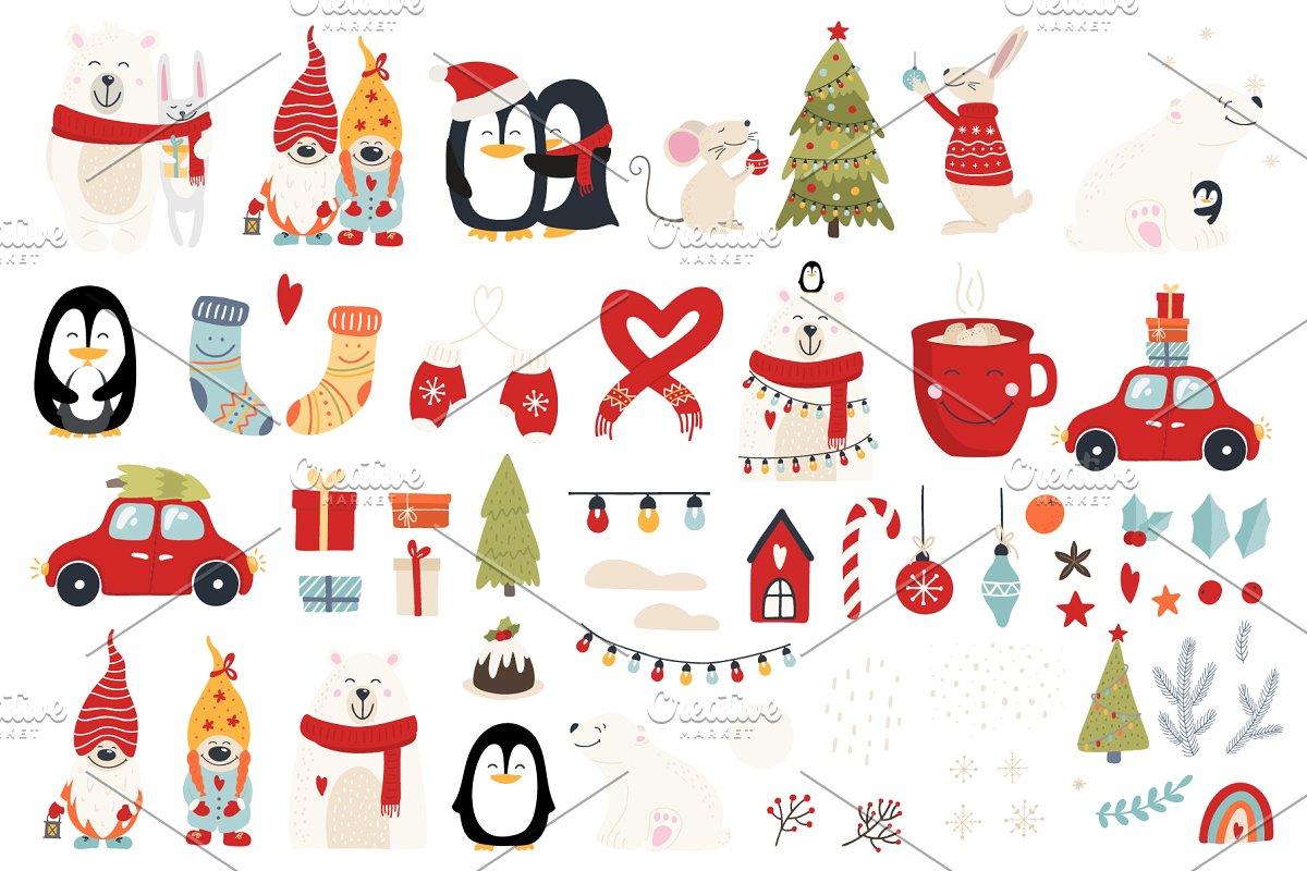 圣诞节主题拥抱系列手绘插画元素图案素材包  ChristmasHugs Collection插图(8)
