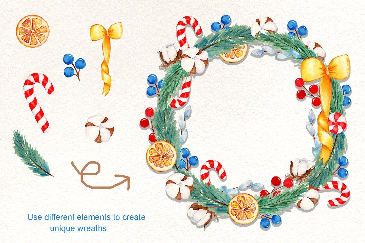 圣诞节主题手绘插画花圈设计素材套装 Wreath Creator Watercolor Clipart插图(2)