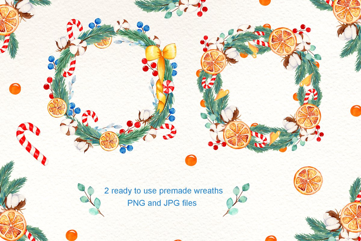 圣诞节主题手绘插画花圈设计素材套装 Wreath Creator Watercolor Clipart插图(3)
