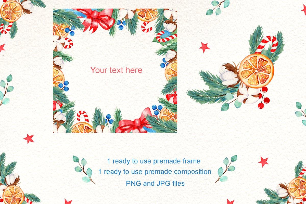 圣诞节主题手绘插画花圈设计素材套装 Wreath Creator Watercolor Clipart插图(4)