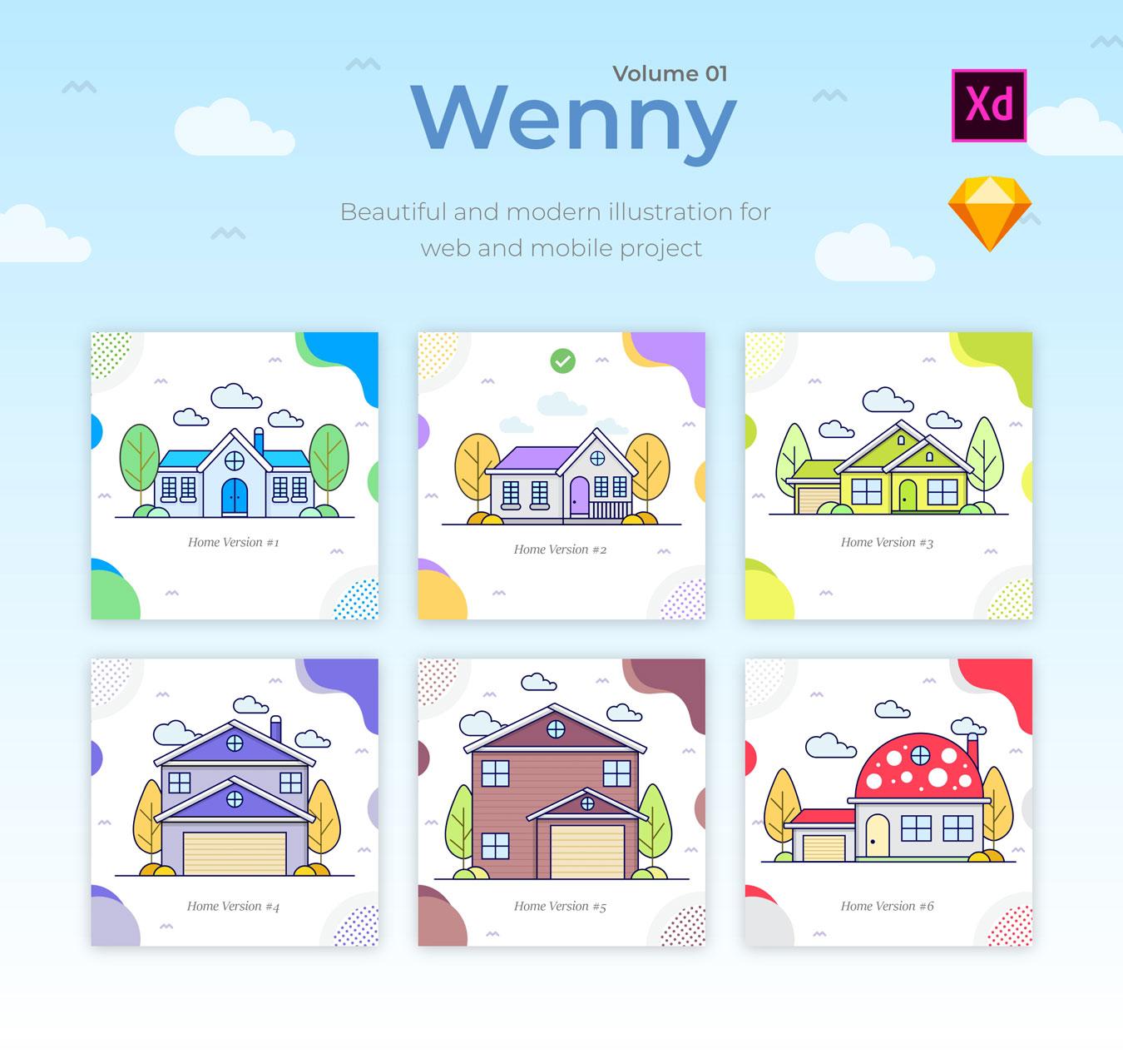 5款温馨的房屋建筑矢量插图 Wenny House Illustrations插图(4)