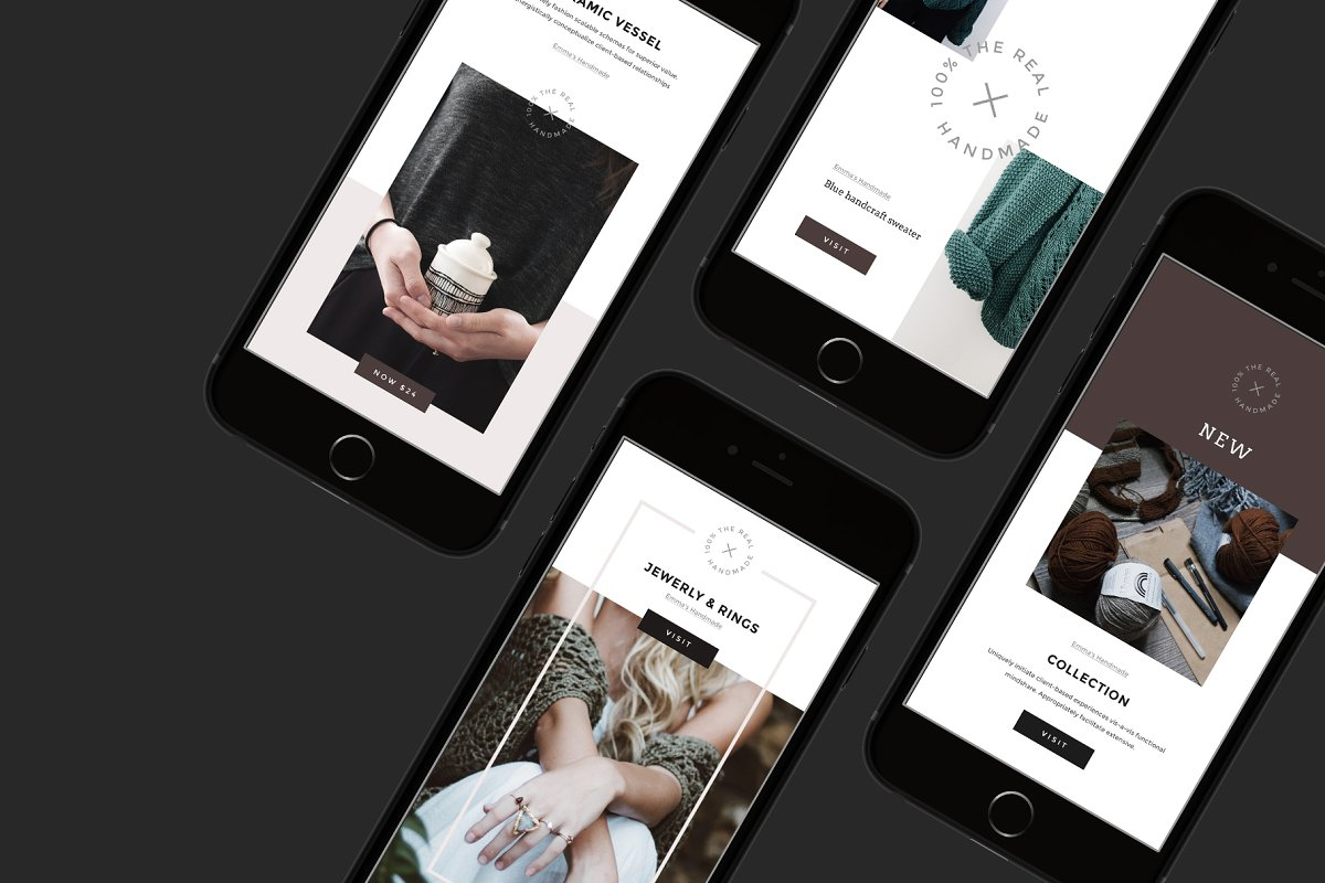 女性博主时装穿搭Instagram故事模板社交媒体推广素材包 Handmade Instagram Stories and Posts插图(1)