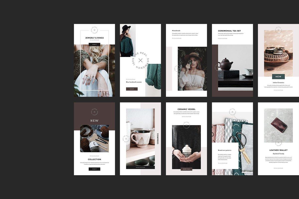 女性博主时装穿搭Instagram故事模板社交媒体推广素材包 Handmade Instagram Stories and Posts插图(10)