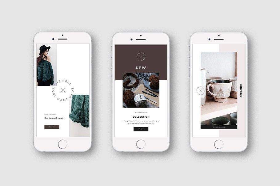 女性博主时装穿搭Instagram故事模板社交媒体推广素材包 Handmade Instagram Stories and Posts插图(4)