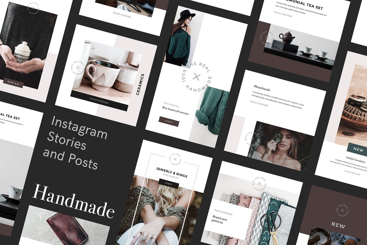 女性博主时装穿搭Instagram故事模板社交媒体推广素材包 Handmade Instagram Stories and Posts插图