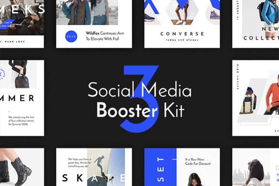 优雅深蓝色时尚博主服装电商营销INS风模板 Social Media Booster Kit 3