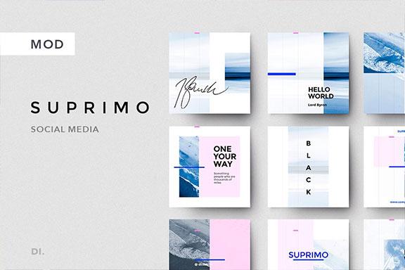 精选免费创新多功能时尚博主电商营销海报INS风模板 SUPRIMO Social Media + Bonus