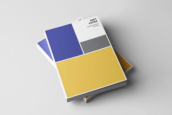 专业设计的A5平装书画册样机PSD模板 A5 Softcover Book Mockup