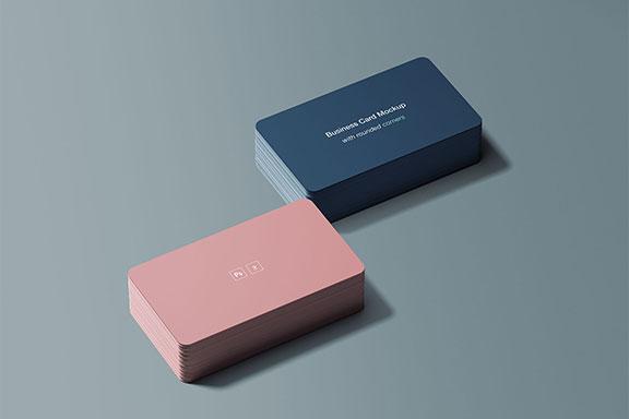 两叠带圆角的名片样机PSD模板 Business Card Mockup with Rounded Corners