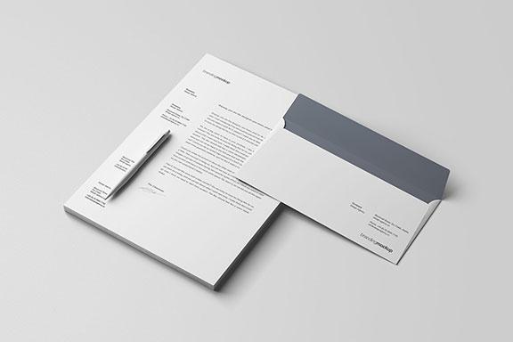 极简主义信笺和信封品牌样机PSD模板 Letterhead and Envelope Branding Mockup (PSD)