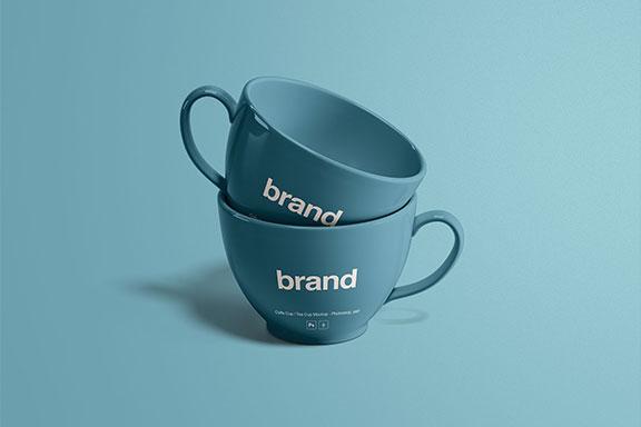品牌LOGO设计提案茶杯展示样机 Tea Cups Mockup