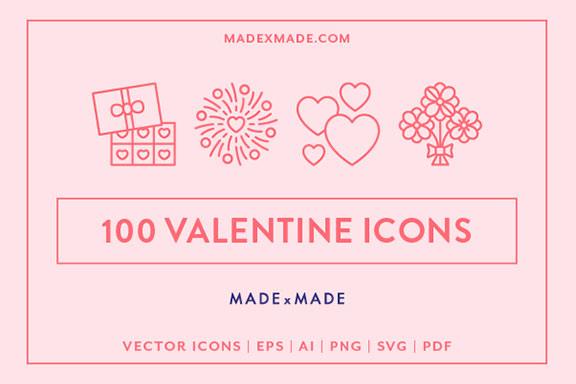 """可爱的100个以""""情人节""""为主题的矢量线图标集合 100 Valentine Line Icons"""