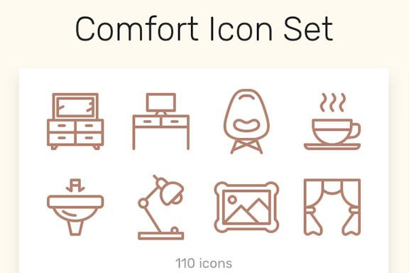 110款圆润居家生活矢量线图标 Comfort Icon Set