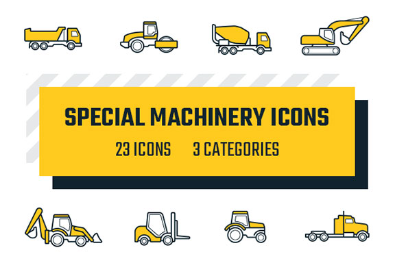 专用特种机械矢量图标集 Special Machinery Icons