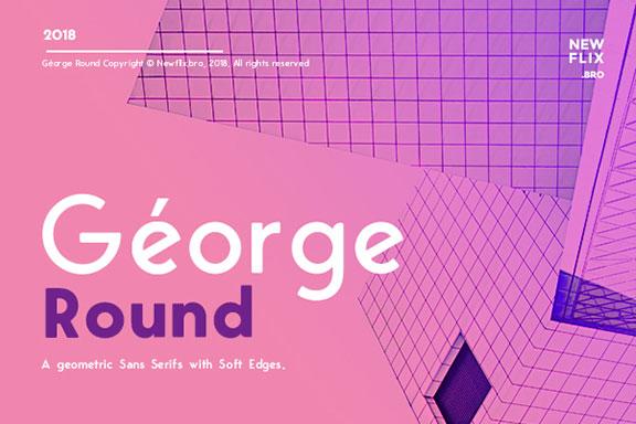 现代雅致欧洲几何风无衬线英文字体 George Round Sans