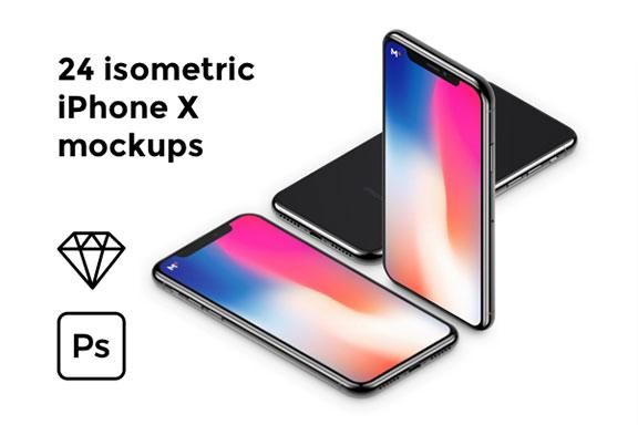 24个高分辨率UI设计等距iPhone X展示样机 24 Isometric iPhone X