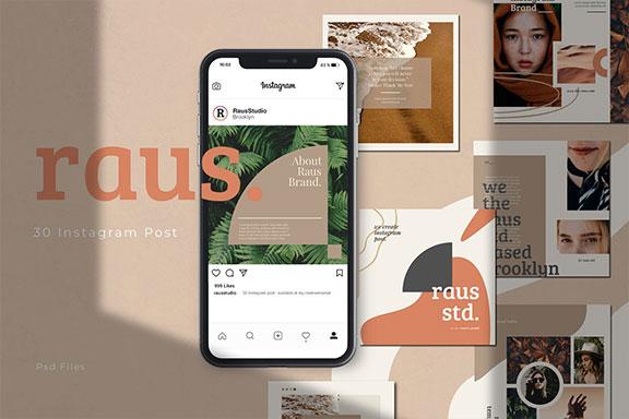 抽象图形修饰女性服装电商营销海报INS风PSD模板 RAUS – Instagram Square Template