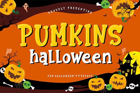 有趣和欢乐的万圣节粗体字体 Pumkins Halloween