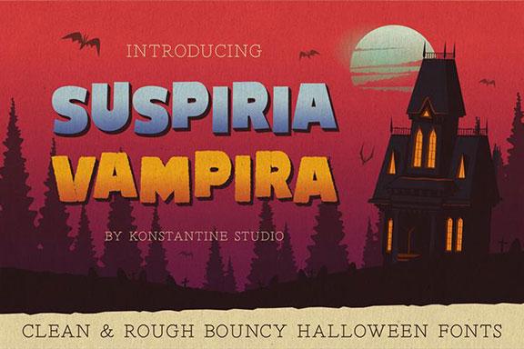神秘卡通万圣节粗体英文字体下载 Suspiria Vampira – Clean & Rough Bouncy Holloween Fonts