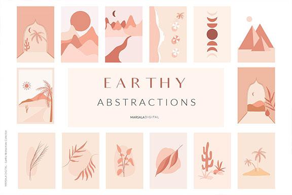 令人敬畏的手绘风景抽象矢量图集 EARTHY Abstractions & Prints