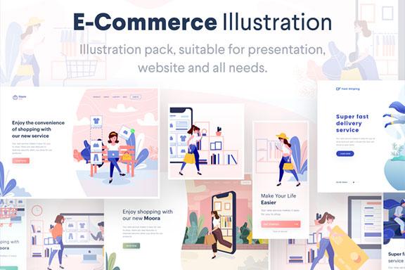 智能办公协同扁平化现代设计概念电子商务插画 Lunas: Ecommerce Illustration Kit