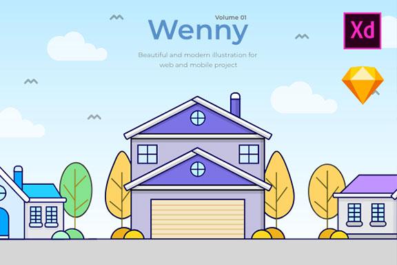 5款温馨的房屋建筑矢量插图 Wenny House Illustrations