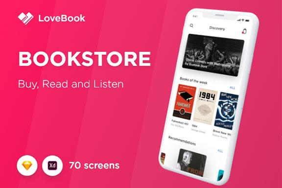 现代书籍在线阅读软件iOS商城应用程序UI设计套件 Bookstore UI Kit