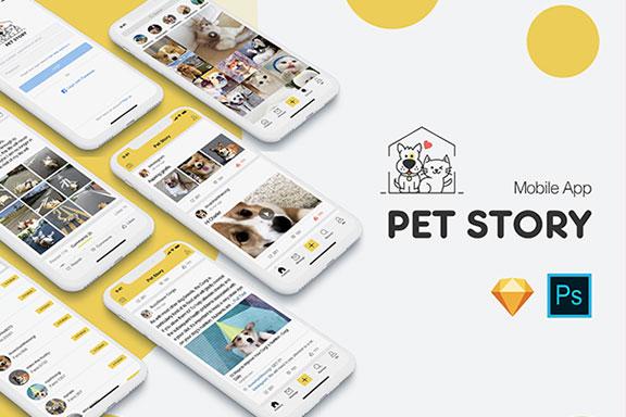 宠物社交应用程序iOS软件APP UI设计套件 Pet Story UI Kit
