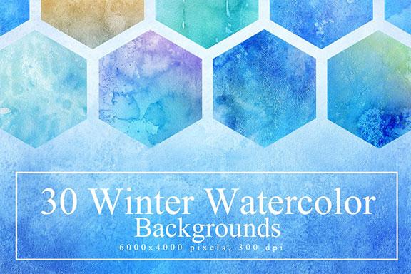 30个富有创意的手工冬季水彩背景纹理 30 Winter Watercolor Backgrounds