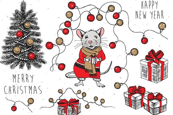 2020年手绘圣诞风小老鼠元素矢量图形鼠年日历模板 Mouse Vector Hand Drawn Illustration, New Year Card