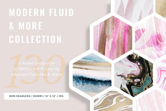 现代时尚抽象手绘水彩背景纹理 Modern Fluid & More Patterns