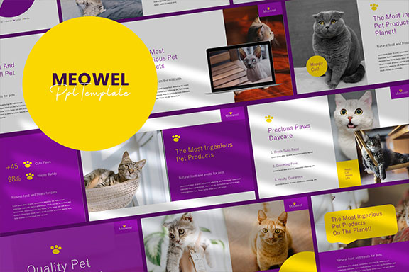 可爱的猫咪宠物店创业营销策划PPT演示文稿模板素材 Meowel – Powerpoint Presentation Template