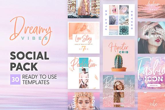 梦幻产品市场营销品牌故事Instagram社交设计素材 Dreamy Vibes Social Pack