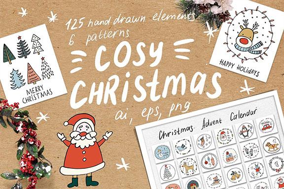 无缝模式舒适的手绘圣诞节元素剪贴画 Cosy Christmas Clipart