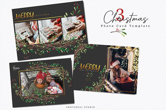 色彩缤纷圣诞节聚会写真卡PSD模板 Christmas Photo Card Template