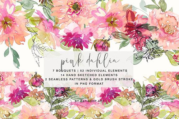 无缝模式手绘粉红色&腮红大丽水彩花束集合 Watercolor Pink Dahlia Set