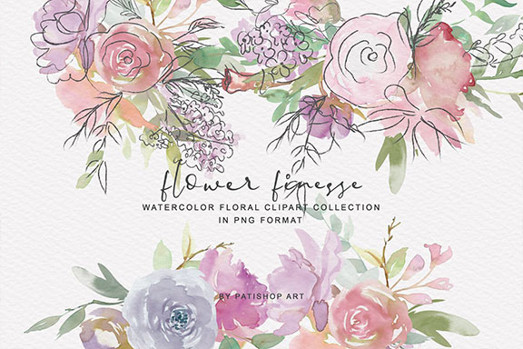 无缝模式手绘紫色色调水彩花卉剪贴画 Watercolor Flower Doodles Clipart