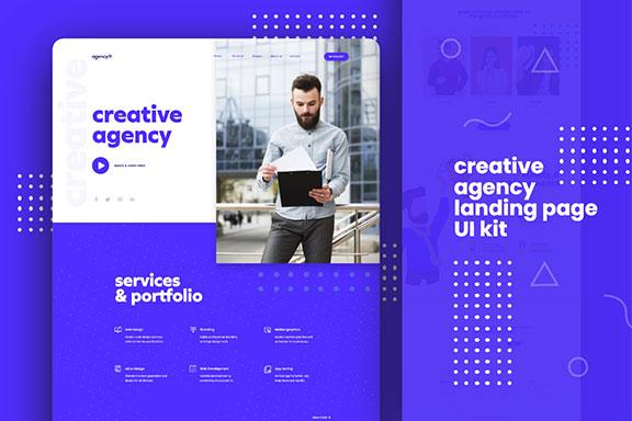 蓝色的现代设计机构WEB UI工具包 Creative Agency Landing page