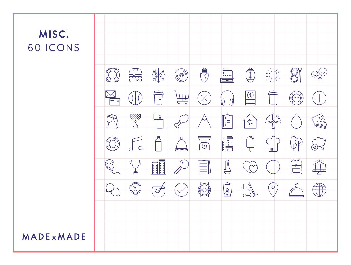 60个独特的矢量线框图标合集 60 Misc. Line Icons插图