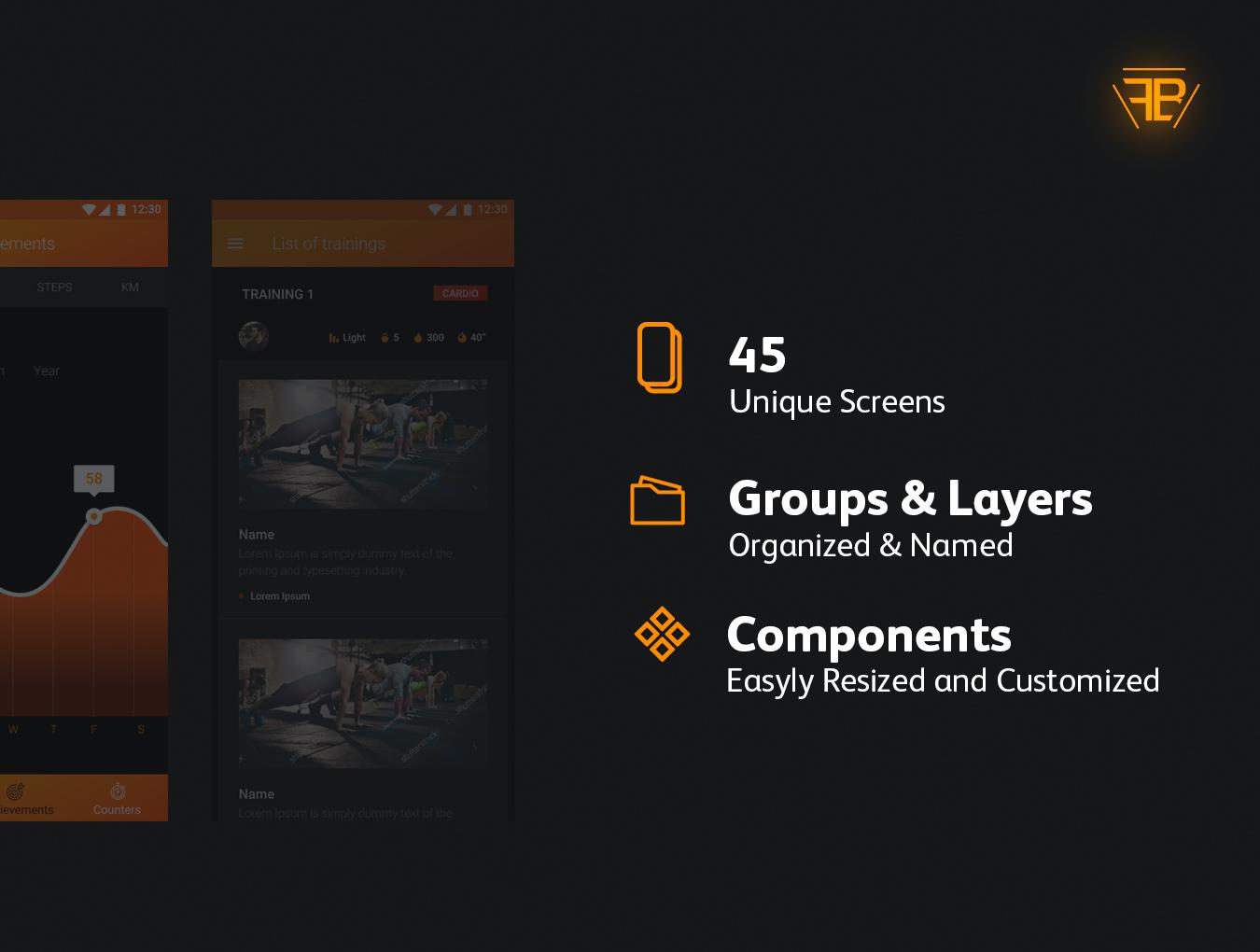 高质量健身旅行商城购物Android UI工具包 FIT BIT Sport UI Kit插图(1)